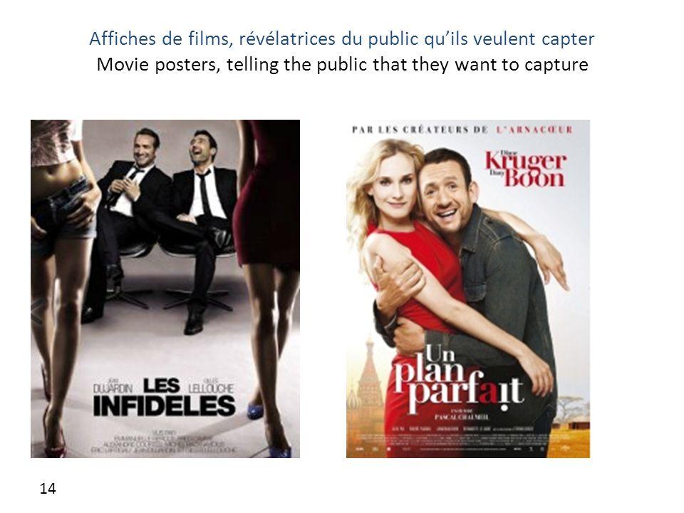 Affiches de films, révélatrices du public qu'ils veulent capter Movie posters, telling the public that they want to capture 14