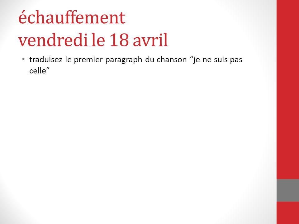 """échauffement vendredi le 18 avril traduisez le premier paragraph du chanson """"je ne suis pas celle"""""""