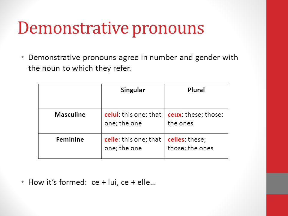 Demonstrative pronouns Demonstrative pronouns agree in number and gender with the noun to which they refer. How it's formed: ce + lui, ce + elle… Sing