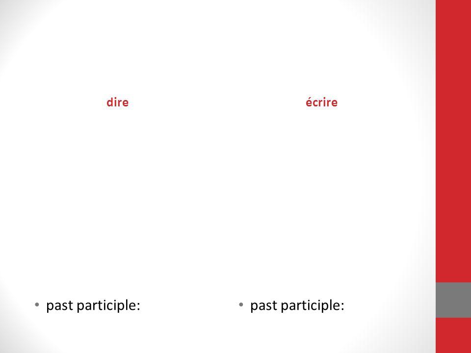 dire past participle: écrire past participle:
