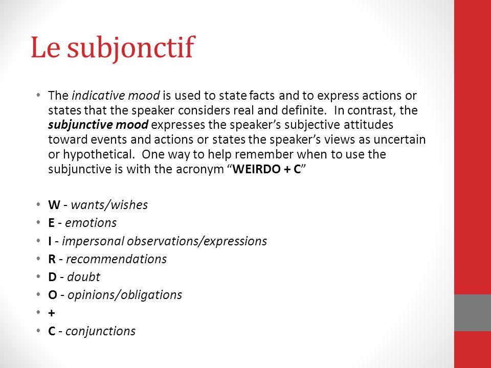 La formation du subjonctif For most verbs: 1.Take the ils/elles present tense form 2.