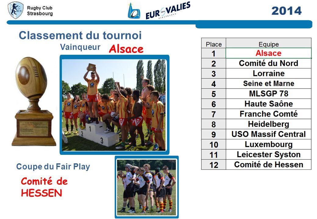 Rugby Club Strasbourg 2014 Classement du tournoi Vainqueur Coupe du Fair Play Comité de HESSEN Alsace