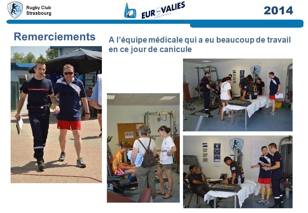 Rugby Club Strasbourg 2014 Remerciements A l'équipe médicale qui a eu beaucoup de travail en ce jour de canicule