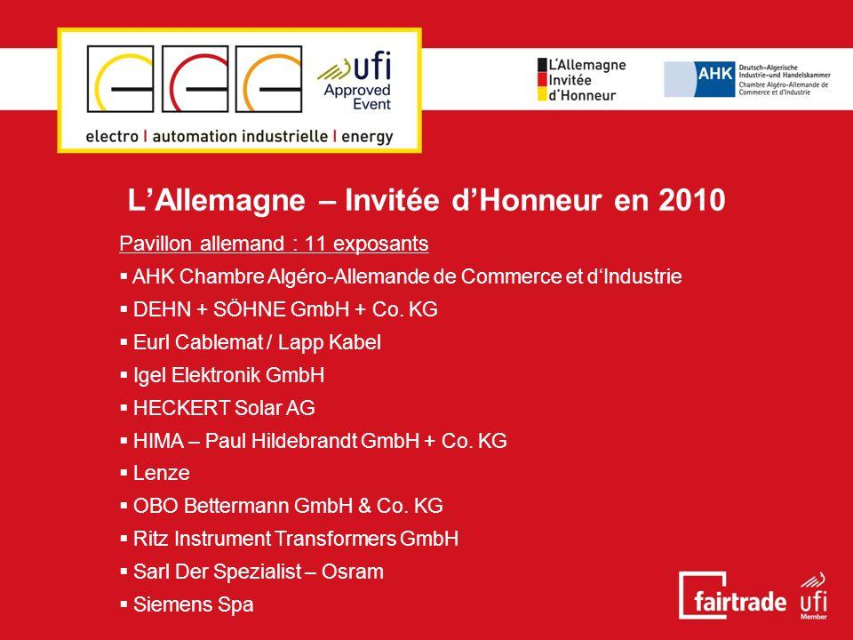 L'Allemagne – Invitée d'Honneur en 2010  Conférence Algéro-Allemande sur l'Efficacité énergetique  Organisée en partenariat avec la Chambre Algéro-Allemande de Commerce et d'Industrie à Alger (AHK Algérie)  15 mars 2010, salle de conférence Pavillon « U »  Présentation : M.