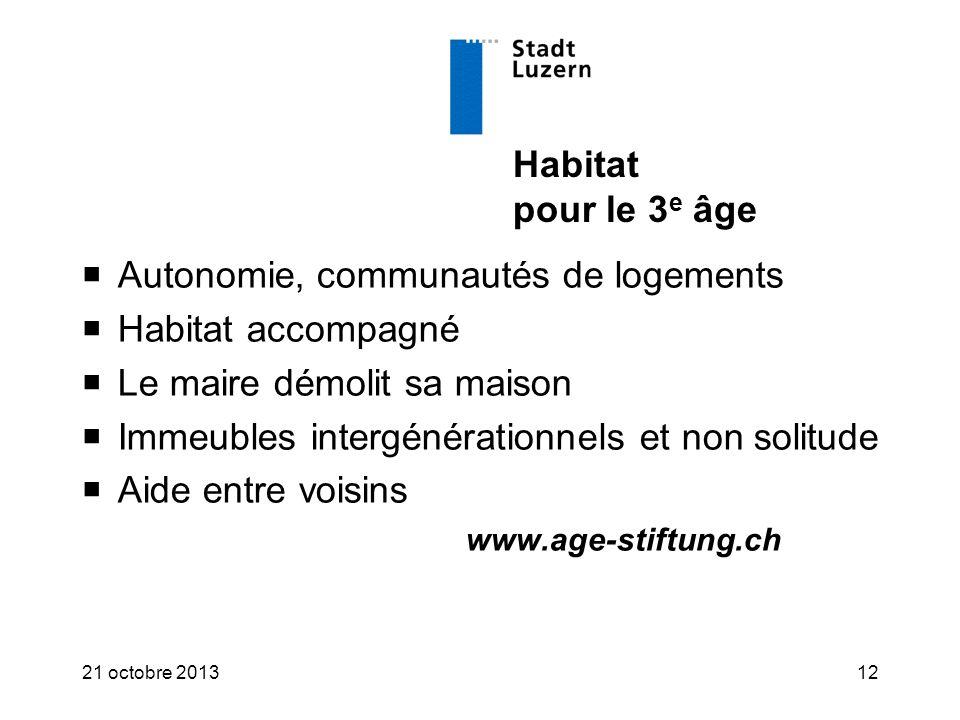 Habitat pour le 3 e âge  Autonomie, communautés de logements  Habitat accompagné  Le maire démolit sa maison  Immeubles intergénérationnels et non solitude  Aide entre voisins www.age-stiftung.ch 21 octobre 201312