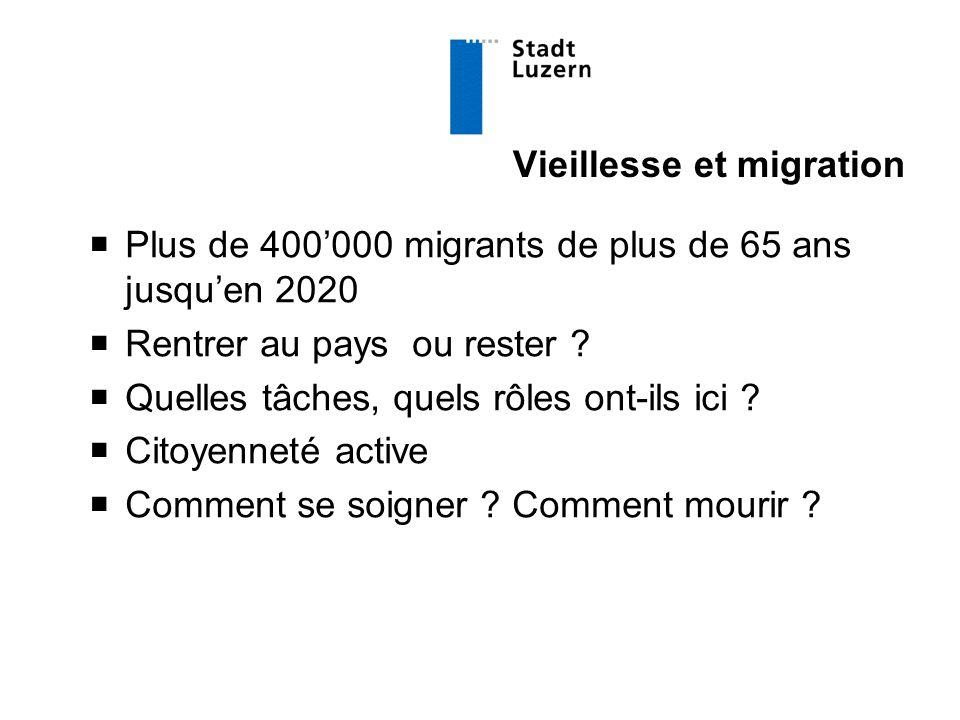 Vieillesse et migration  Plus de 400'000 migrants de plus de 65 ans jusqu'en 2020  Rentrer au pays ou rester .