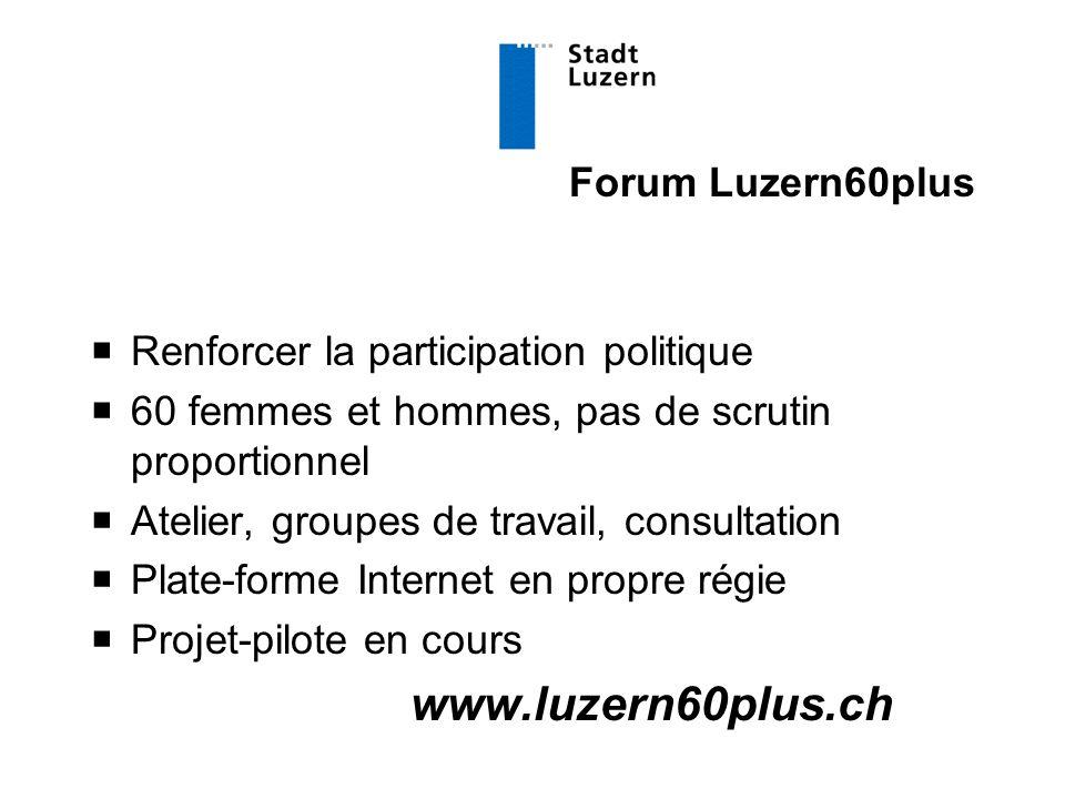 Forum Luzern60plus  Renforcer la participation politique  60 femmes et hommes, pas de scrutin proportionnel  Atelier, groupes de travail, consultation  Plate-forme Internet en propre régie  Projet-pilote en cours www.luzern60plus.ch