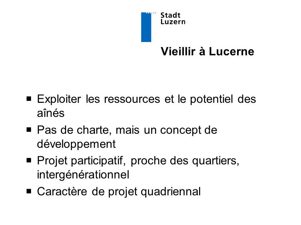 Vieillir à Lucerne  Exploiter les ressources et le potentiel des aînés  Pas de charte, mais un concept de développement  Projet participatif, proche des quartiers, intergénérationnel  Caractère de projet quadriennal