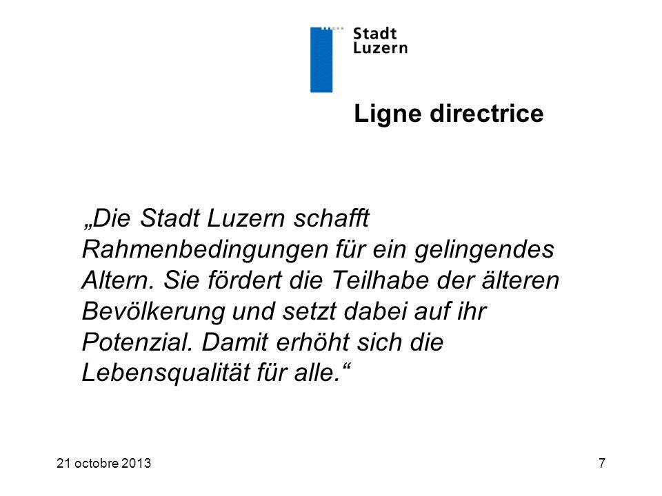 """Ligne directrice """"Die Stadt Luzern schafft Rahmenbedingungen für ein gelingendes Altern."""