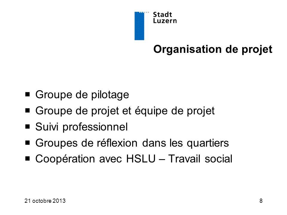 Organisation de projet  Groupe de pilotage  Groupe de projet et équipe de projet  Suivi professionnel  Groupes de réflexion dans les quartiers  Coopération avec HSLU – Travail social 21 octobre 20138