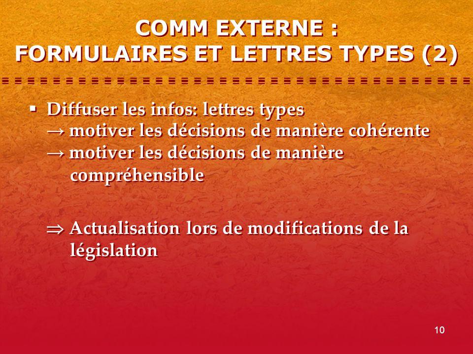 10 COMM EXTERNE : FORMULAIRES ET LETTRES TYPES (2)  Diffuser les infos: lettres types → motiver les décisions de manière cohérente → motiver les déci
