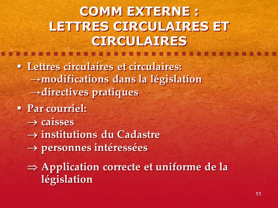 11 COMM EXTERNE : LETTRES CIRCULAIRES ET CIRCULAIRES  Lettres circulaires et circulaires: → modifications dans la législation → directives pratiques