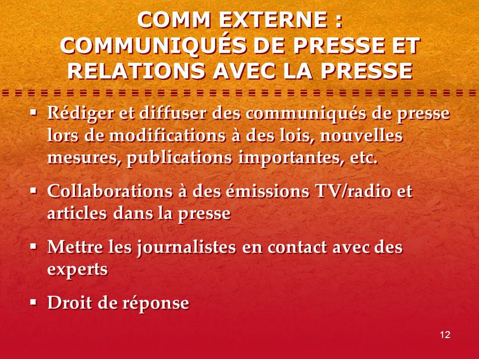 12 COMM EXTERNE : COMMUNIQUÉS DE PRESSE ET RELATIONS AVEC LA PRESSE  Rédiger et diffuser des communiqués de presse lors de modifications à des lois,