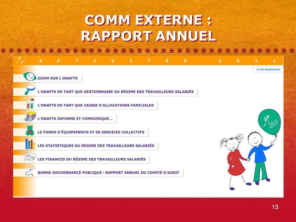 13 COMM EXTERNE : RAPPORT ANNUEL