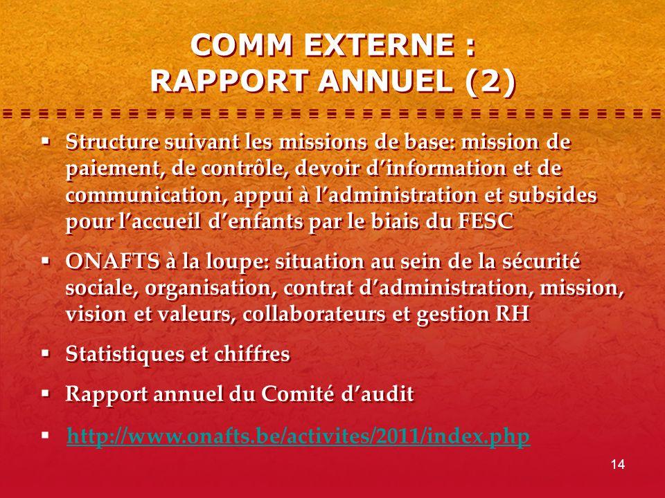 14 COMM EXTERNE : RAPPORT ANNUEL (2)  Structure suivant les missions de base: mission de paiement, de contrôle, devoir d'information et de communicat