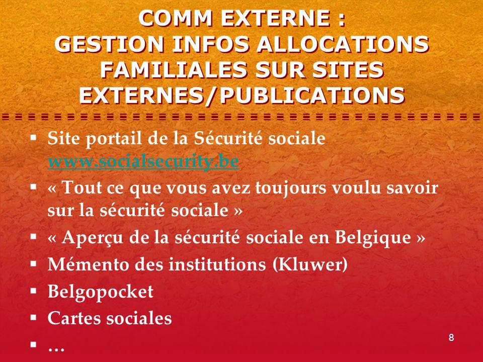 8 COMM EXTERNE : GESTION INFOS ALLOCATIONS FAMILIALES SUR SITES EXTERNES/PUBLICATIONS  Site portail de la Sécurité sociale www.socialsecurity.be www.socialsecurity.be  « Tout ce que vous avez toujours voulu savoir sur la sécurité sociale »  « Aperçu de la sécurité sociale en Belgique »  Mémento des institutions (Kluwer)  Belgopocket  Cartes sociales  …