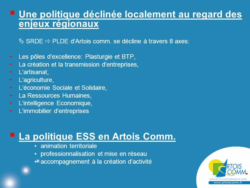  Une politique déclinée localement au regard des enjeux régionaux  SRDE  PLDE d'Artois comm.