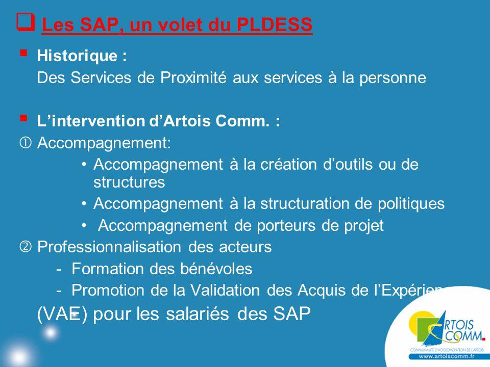  Les SAP, un volet du PLDESS  Historique : Des Services de Proximité aux services à la personne  L'intervention d'Artois Comm.