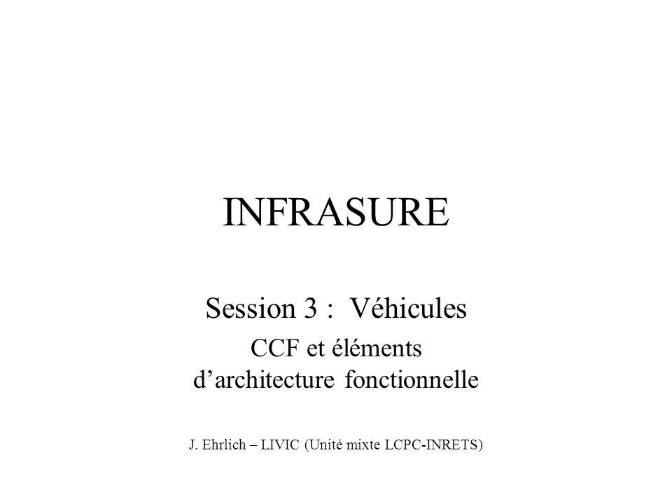 INFRASURE Session 3 : Véhicules CCF et éléments d'architecture fonctionnelle J. Ehrlich – LIVIC (Unité mixte LCPC-INRETS)