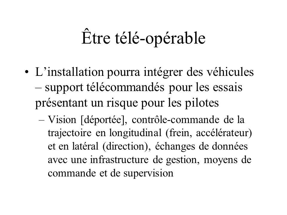 Être télé-opérable L'installation pourra intégrer des véhicules – support télécommandés pour les essais présentant un risque pour les pilotes –Vision