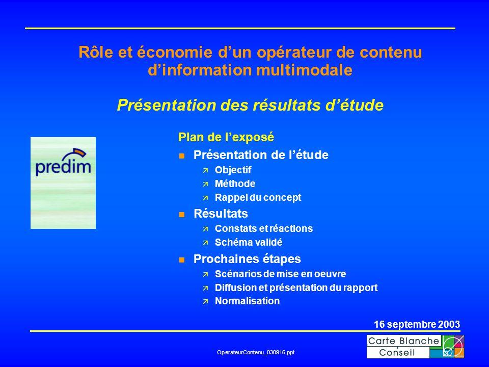 OperateurContenu_030916.ppt Rôle et économie d'un opérateur de contenu d'information multimodale Présentation des résultats d'étude Plan de l'exposé n