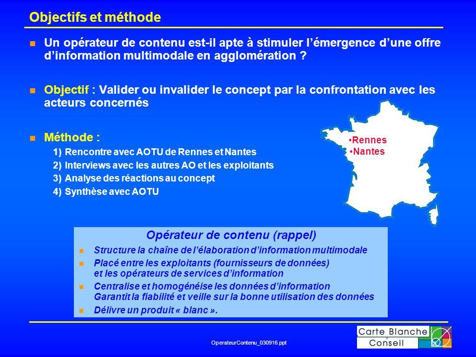 OperateurContenu_030916.ppt Objectifs et méthode n Un opérateur de contenu est-il apte à stimuler l'émergence d'une offre d'information multimodale en agglomération .