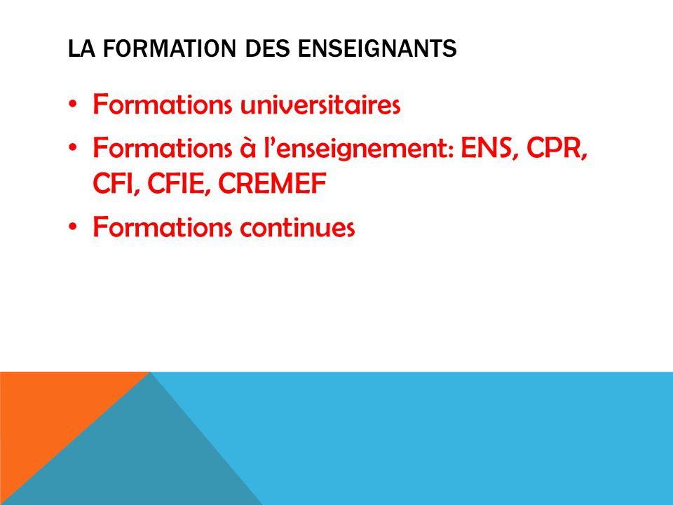 LA FORMATION DES ENSEIGNANTS Formations universitaires Formations à l'enseignement: ENS, CPR, CFI, CFIE, CREMEF Formations continues
