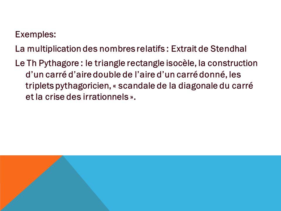 Exemples: La multiplication des nombres relatifs : Extrait de Stendhal Le Th Pythagore : le triangle rectangle isocèle, la construction d'un carré d'a