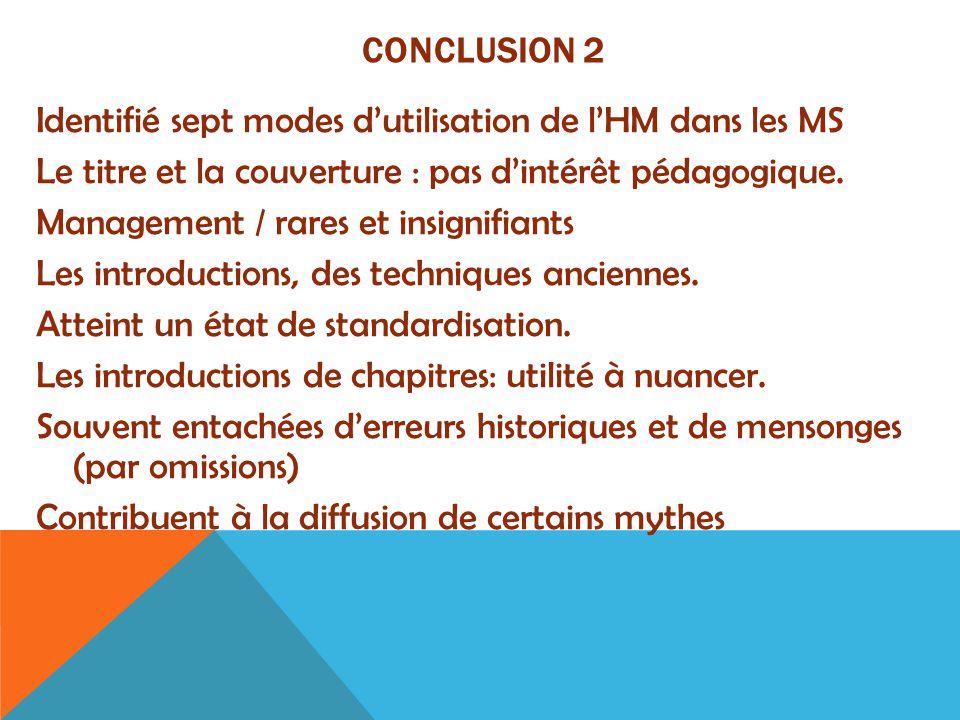 CONCLUSION 2 Identifié sept modes d'utilisation de l'HM dans les MS Le titre et la couverture : pas d'intérêt pédagogique. Management / rares et insig