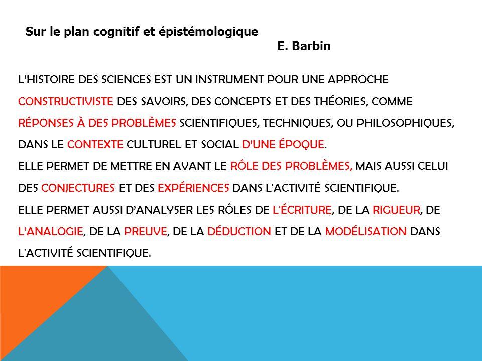 Sur le plan cognitif et épistémologique E. Barbin L'HISTOIRE DES SCIENCES EST UN INSTRUMENT POUR UNE APPROCHE CONSTRUCTIVISTE DES SAVOIRS, DES CONCEPT
