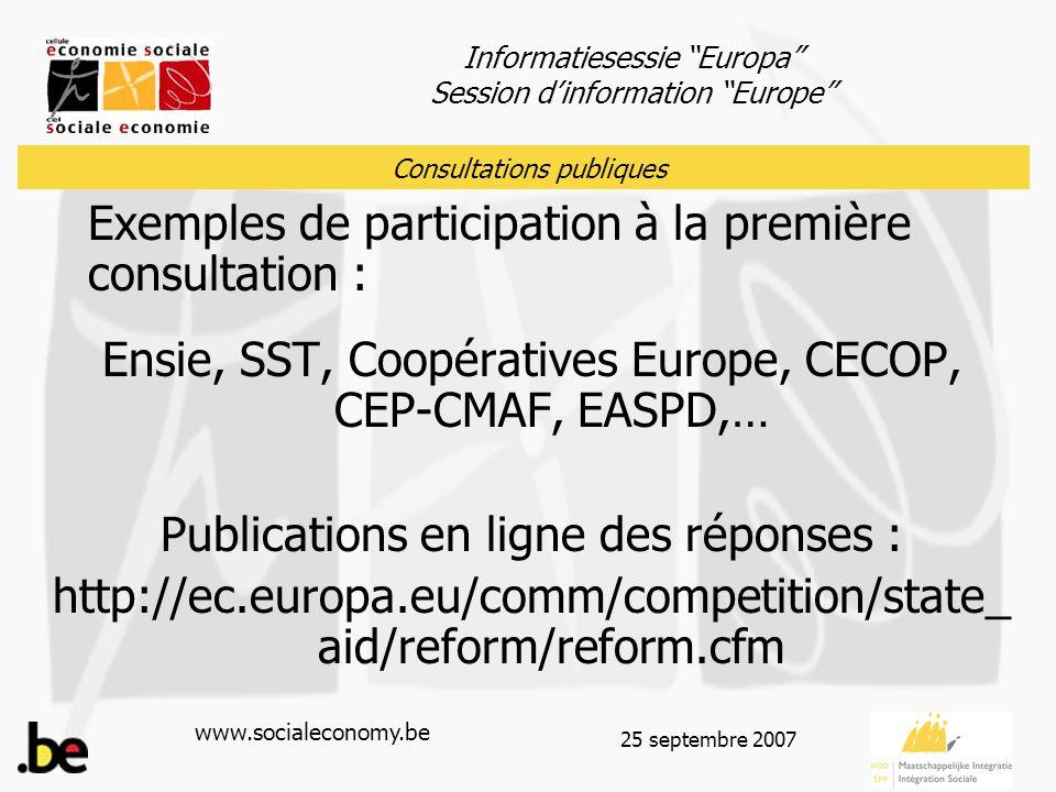 """Informatiesessie """"Europa"""" Session d'information """"Europe"""" www.socialeconomy.be 25 septembre 2007 Exemples de participation à la première consultation :"""