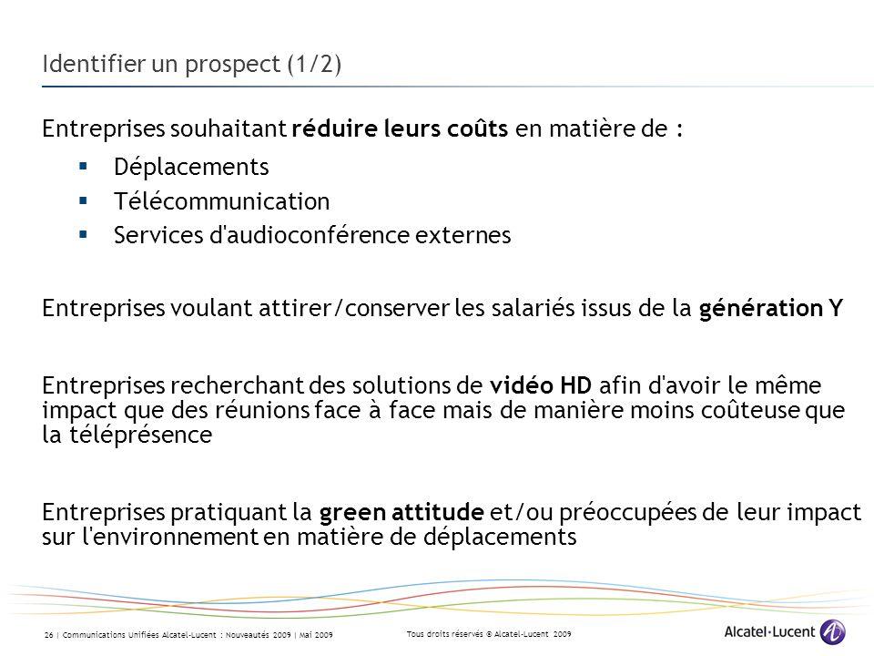 Tous droits réservés © Alcatel-Lucent 2009 26 | Communications Unifiées Alcatel-Lucent : Nouveautés 2009 | Mai 2009 Identifier un prospect (1/2) Entre