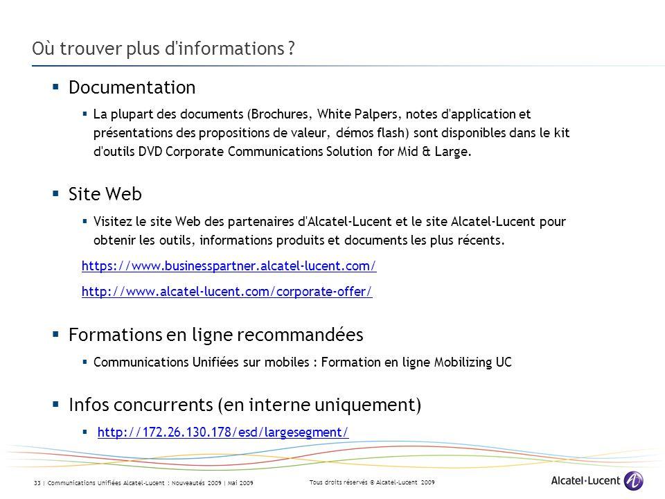 Tous droits réservés © Alcatel-Lucent 2009 33 | Communications Unifiées Alcatel-Lucent : Nouveautés 2009 | Mai 2009 Où trouver plus d informations .