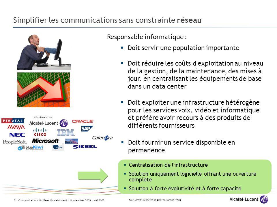 Tous droits réservés © Alcatel-Lucent 2009 9 | Communications Unifiées Alcatel-Lucent : Nouveautés 2009 | Mai 2009 Simplifier les communications sans
