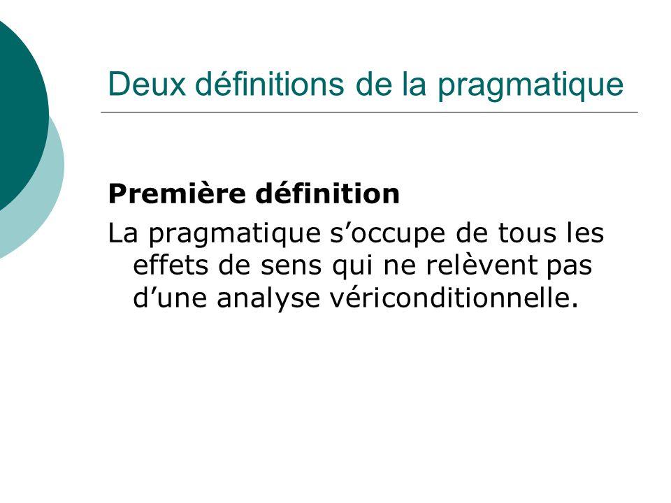 Deux définitions de la pragmatique Première définition La pragmatique s'occupe de tous les effets de sens qui ne relèvent pas d'une analyse véricondit