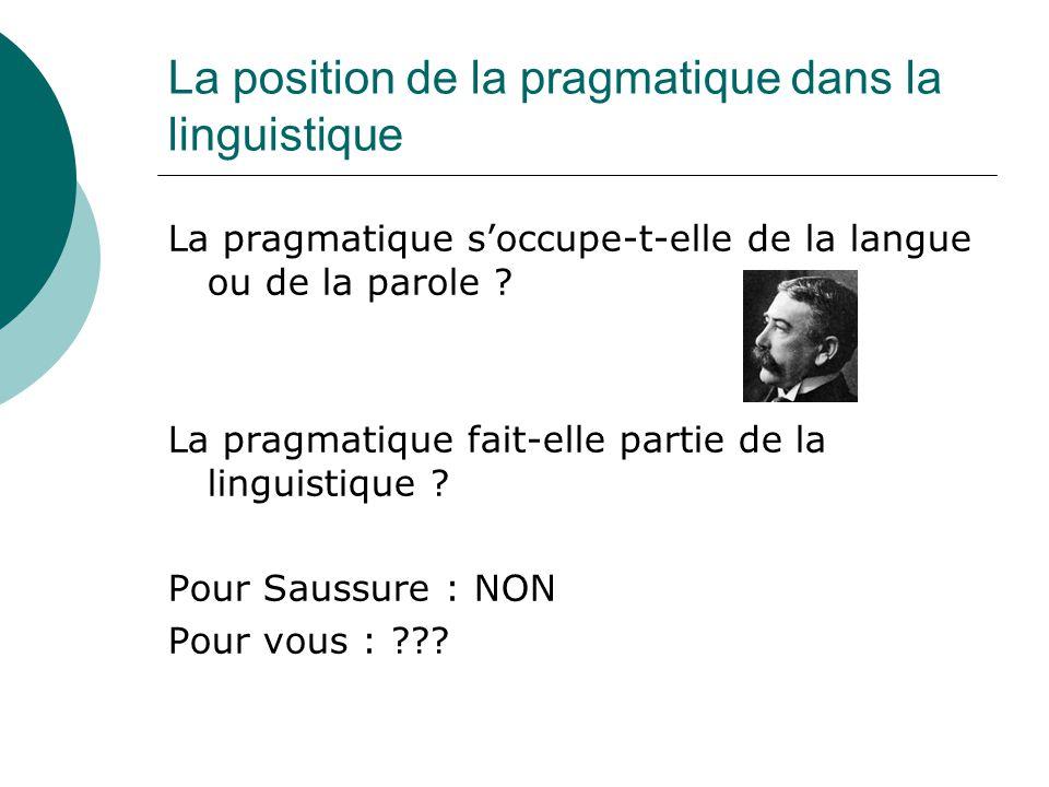 La position de la pragmatique dans la linguistique La pragmatique s'occupe-t-elle de la langue ou de la parole ? La pragmatique fait-elle partie de la