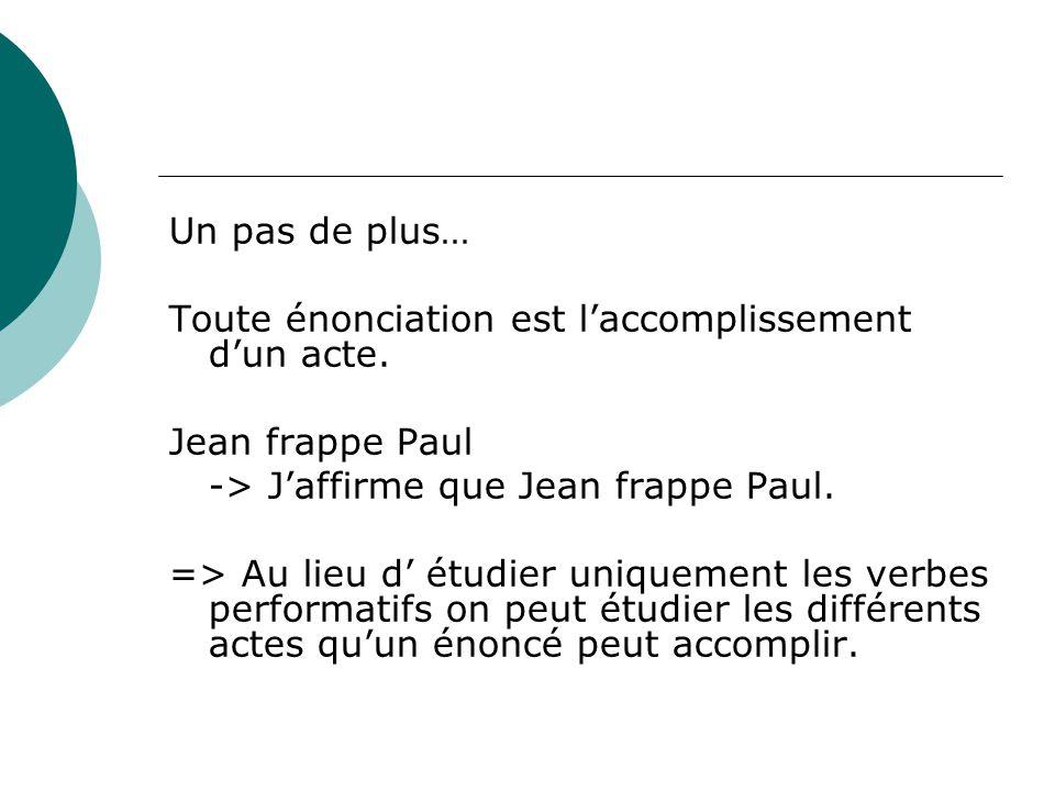 Un pas de plus… Toute énonciation est l'accomplissement d'un acte. Jean frappe Paul -> J'affirme que Jean frappe Paul. => Au lieu d' étudier uniquemen