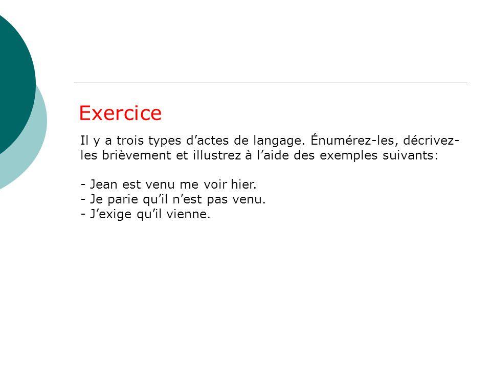 Exercice Il y a trois types d'actes de langage. Énumérez-les, décrivez- les brièvement et illustrez à l'aide des exemples suivants: - Jean est venu me