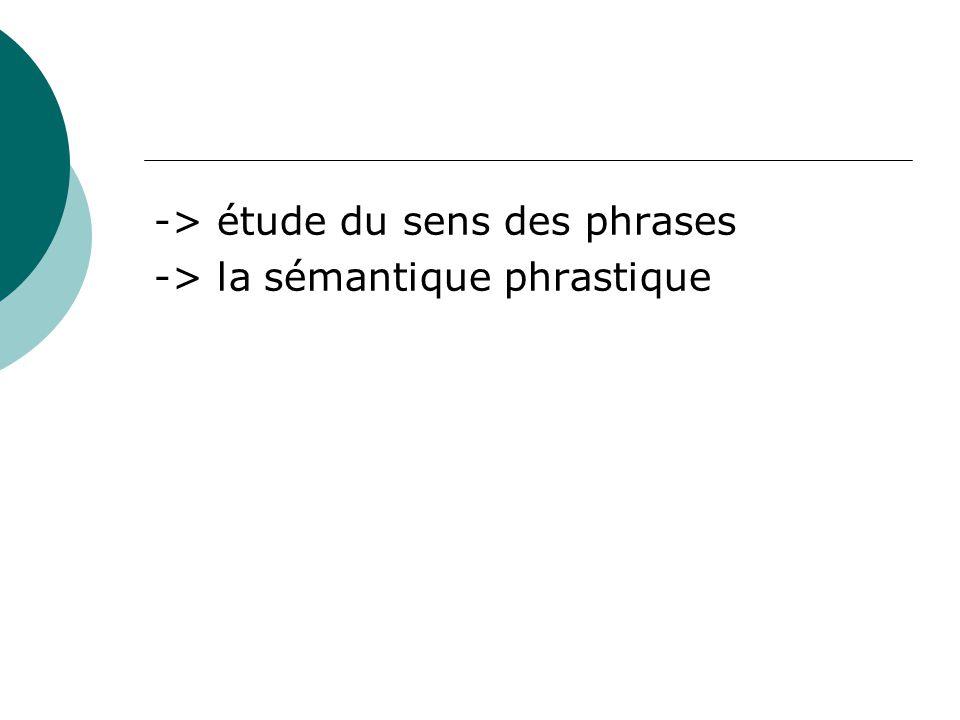 -> étude du sens des phrases -> la sémantique phrastique