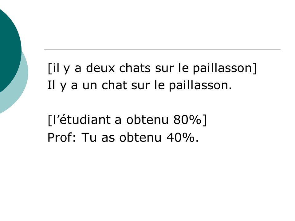 [il y a deux chats sur le paillasson] Il y a un chat sur le paillasson. [l' étudiant a obtenu 80%] Prof: Tu as obtenu 40%.