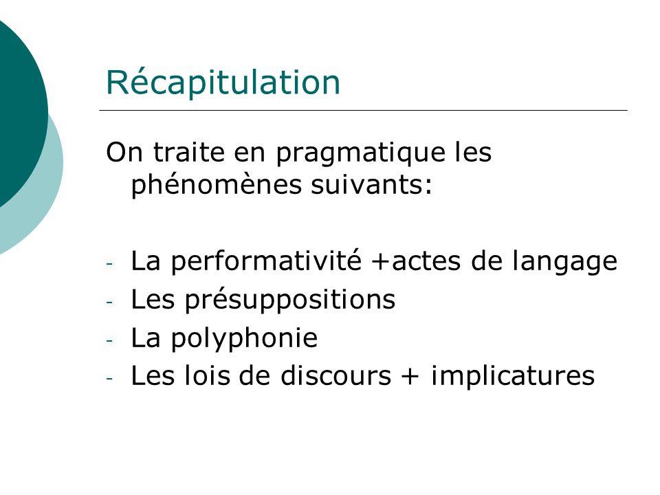 R écapitulation On traite en pragmatique les phénomènes suivants: - La performativité +actes de langage - Les présuppositions - La polyphonie - Les lo