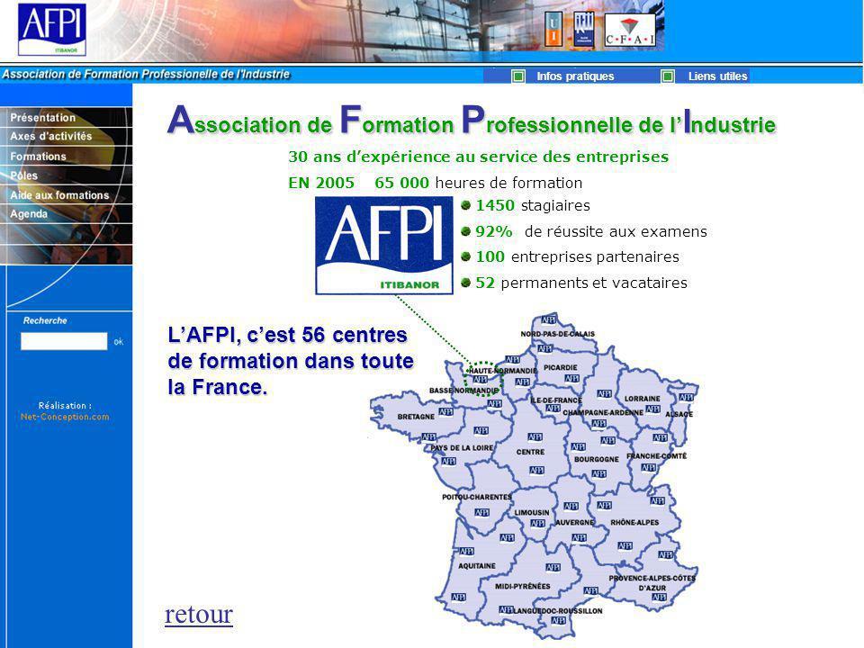 30 ans d'expérience au service des entreprises EN 200565 000 heures de formation 1450 stagiaires 92% de réussite aux examens 100 entreprises partenaires 52 permanents et vacataires retour A ssociation de F ormation P rofessionnelle de l' I ndustrie L'AFPI, c'est 56 centres de formation dans toute la France.