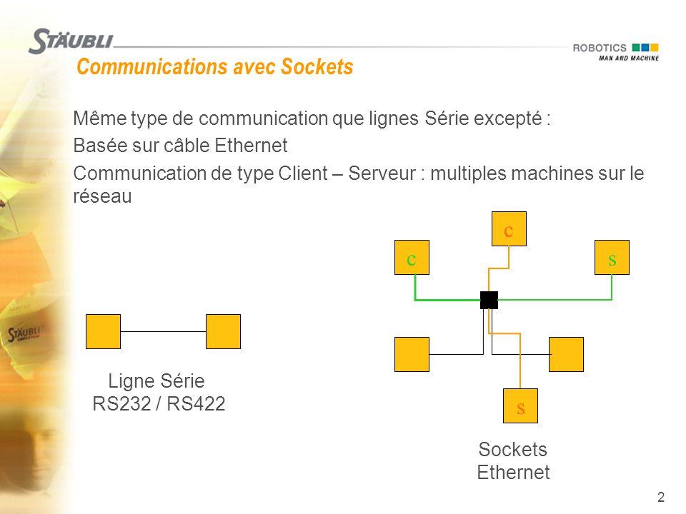2 Communications avec Sockets  Même type de communication que lignes Série excepté :  Basée sur câble Ethernet  Communication de type Client – Serv