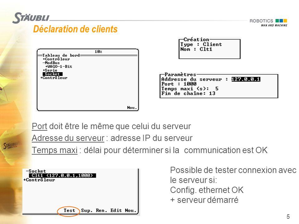6 Lire et écrire sur Sockets  Comme les lignes série  io:Srv1= Ceci est un message ou io:Clt1= Ceci est message écrit la chaîne sur le port (ajoute le délimiteur de chaîne à la fin du message)  message = io:Srv1 ou message = io:Clt1 lit une chaîne depuis le port (lit tous les caractères jusqu'au délimiteur ou jusqu'à 128 car.)  io:Clt1= 65 ou io:Srv1= 65 écrit 1 car.