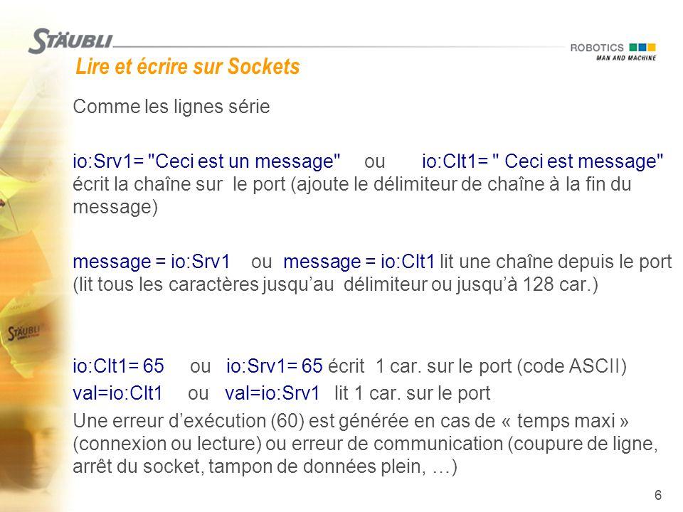 7 Instructions SIO  Lire un tableau de num sur la SIO : (non bloquante)  nbcar = sioGet(io:Clt1, ligne) num nbcar retourne nombre de car.