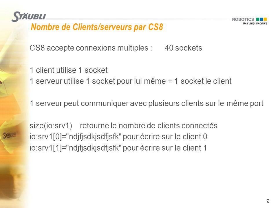 9 Nombre de Clients/serveurs par CS8  CS8 accepte connexions multiples : 40 sockets  1 client utilise 1 socket  1 serveur utilise 1 socket pour lui