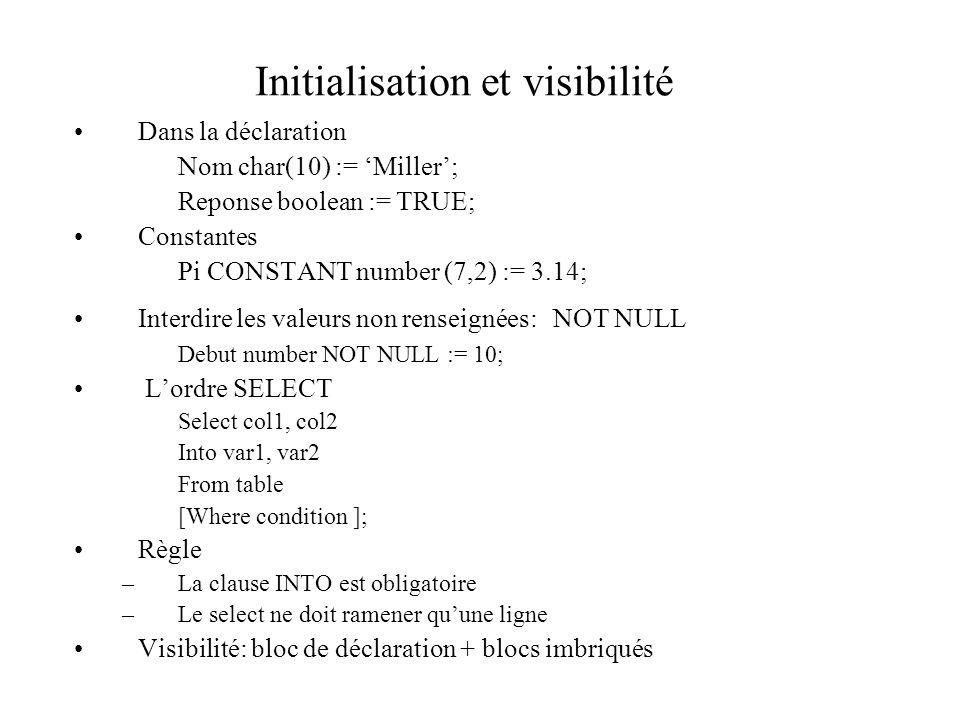 Initialisation et visibilité Dans la déclaration Nom char(10) := 'Miller'; Reponse boolean := TRUE; Constantes Pi CONSTANT number (7,2) := 3.14; Inter