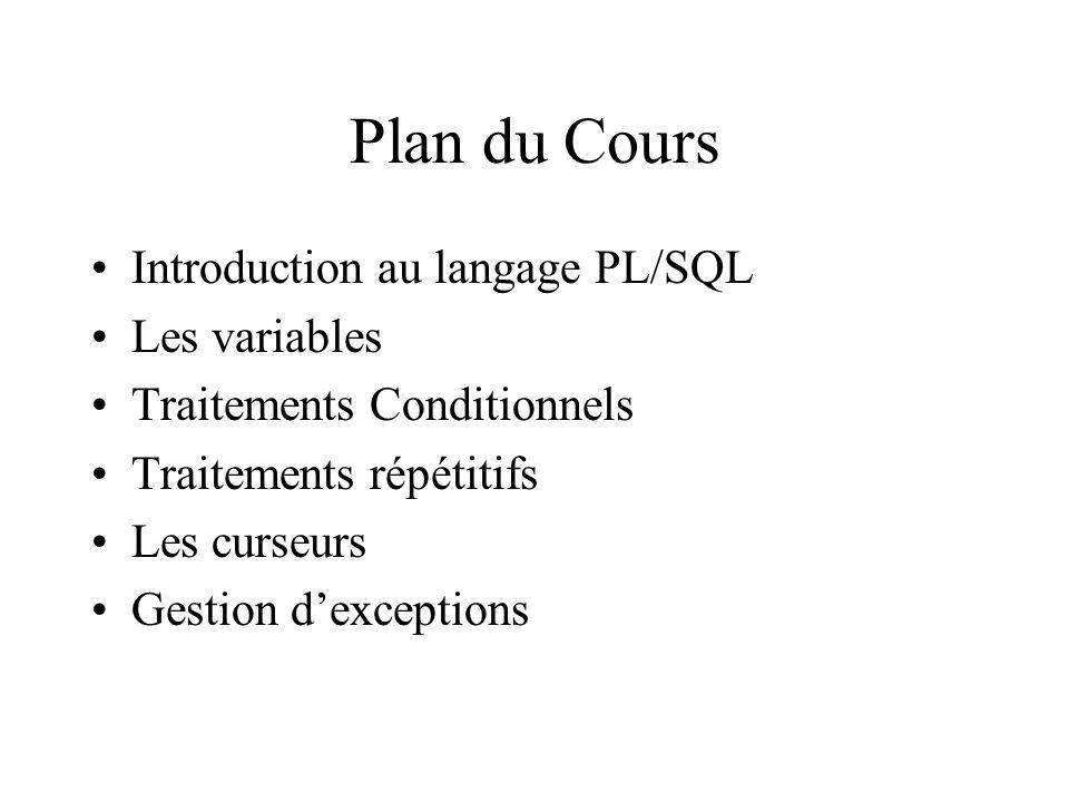 Plan du Cours Introduction au langage PL/SQL Les variables Traitements Conditionnels Traitements répétitifs Les curseurs Gestion d'exceptions