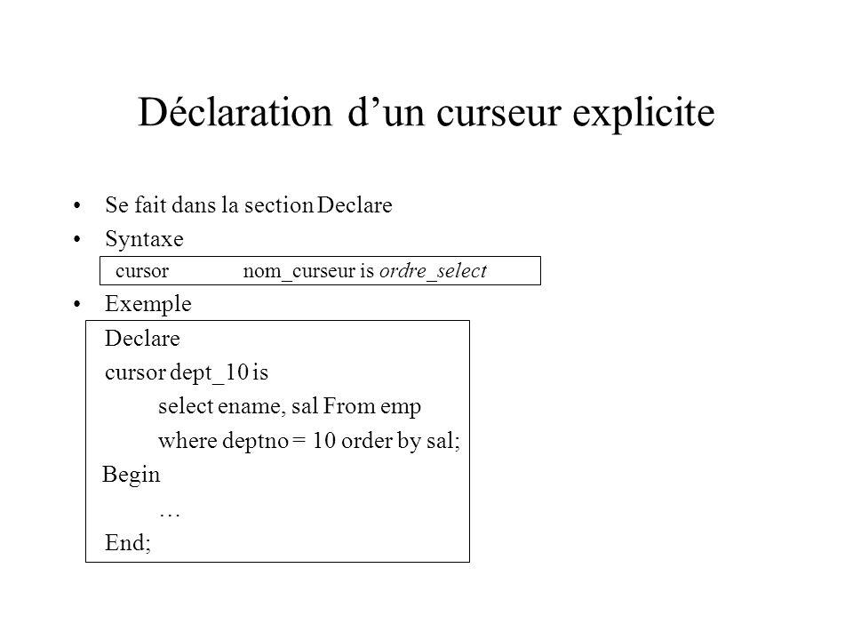 Déclaration d'un curseur explicite Se fait dans la section Declare Syntaxe cursornom_curseur is ordre_select Exemple Declare cursor dept_10 is select
