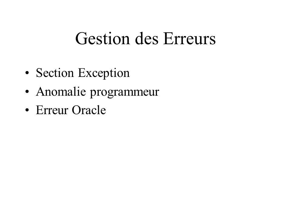 Gestion des Erreurs Section Exception Anomalie programmeur Erreur Oracle